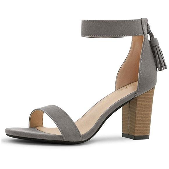 709e7f4dfe Allegra K Shoes | Gray Tassel Ankle Strap Heeled Open Toe Sandal ...